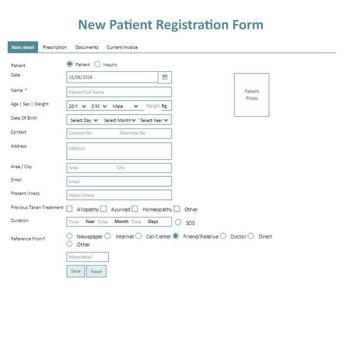 Patient New Registration form