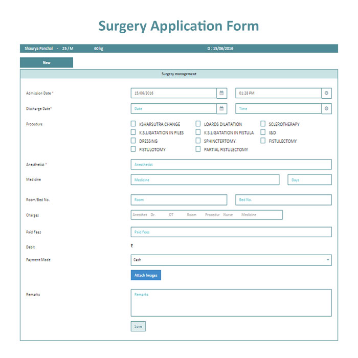 Surgery Application Form